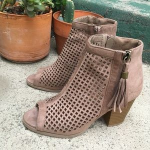 Taupe Suede Tassel Ankle Booties